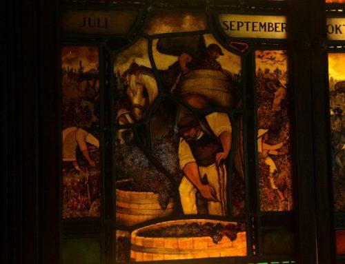 Oude glas-in-lood panelen